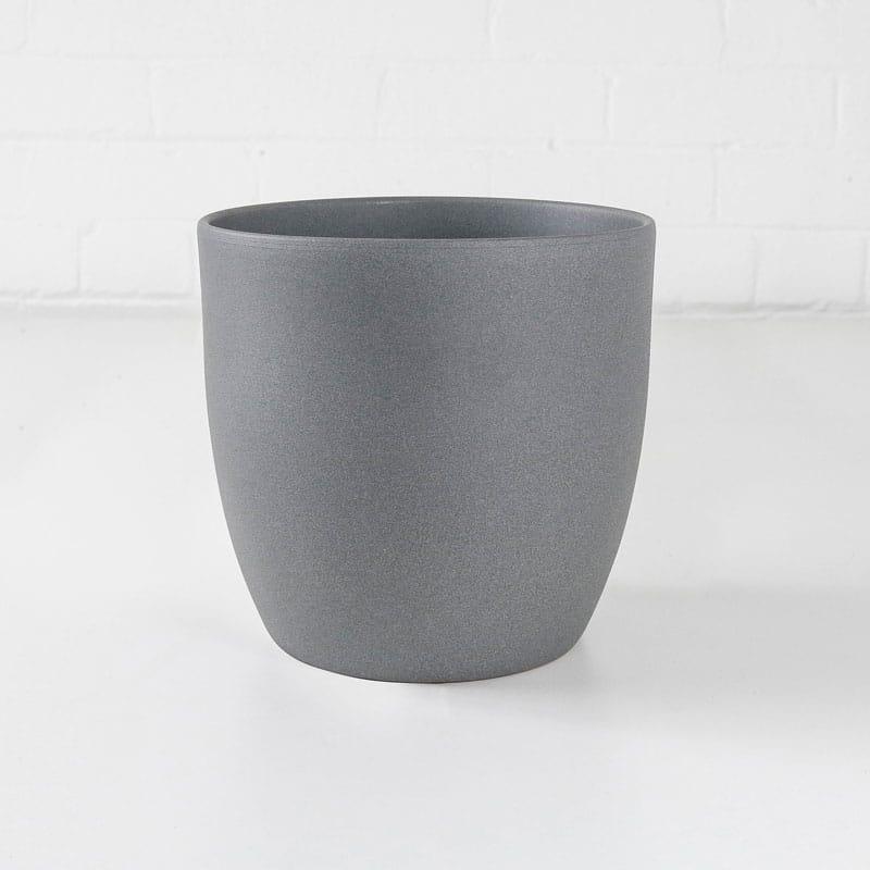 stone ceramic plant pot grey medium