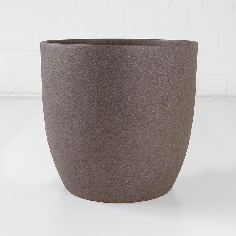 brown large stone ceramic plant pot