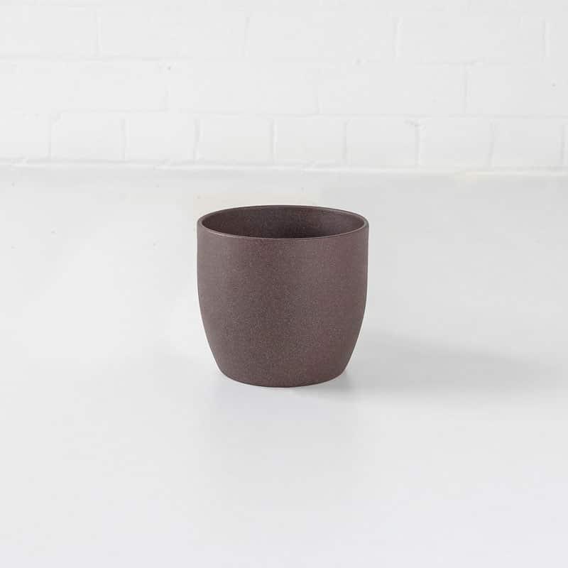 brown small stone ceramic plant pot