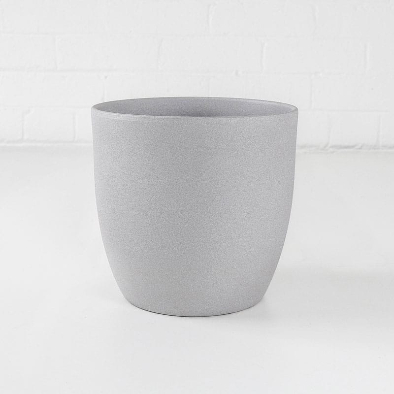 medium grey stone ceramic plant pot