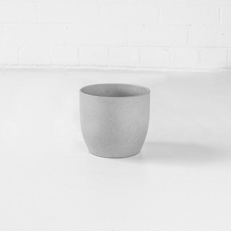 light grey stone ceramic plant pot