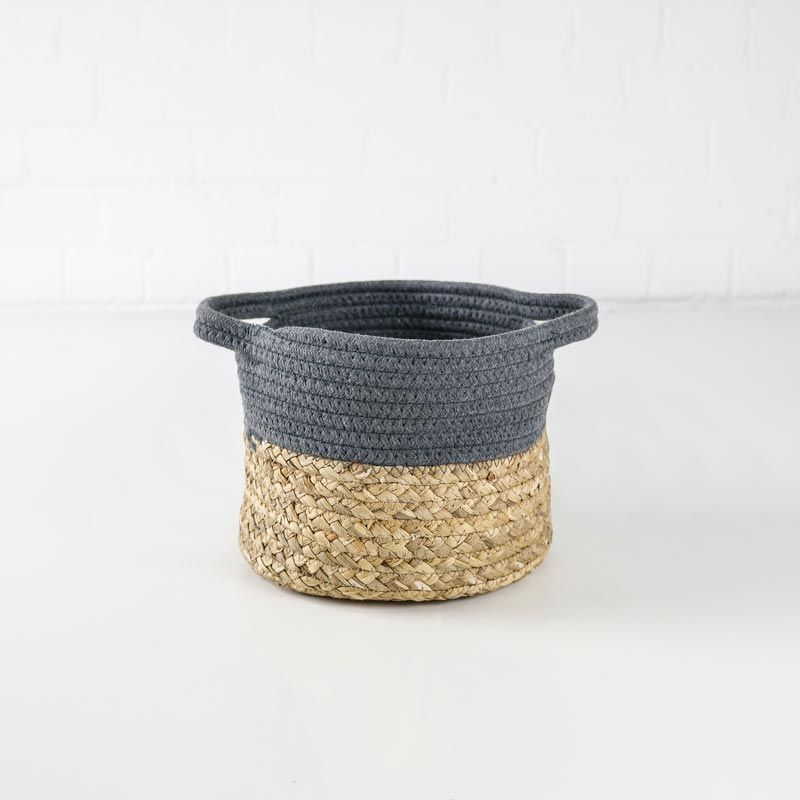 small woven basket grey